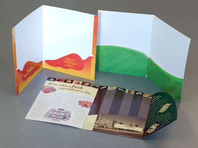 Custom folders show off a business's personality while giving a professional customer experience.